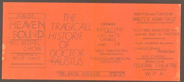 Doctor Faustus, poster from the New Orleans production, 1937. (source: LOC)