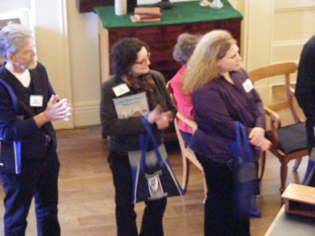 At the Illinois Reads kickoff in the Old State Capitol, Springfield, Illinois (l to r: Jim Aylesworth, me, Kristina Springer)