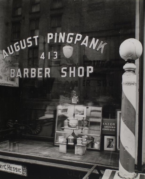 The Pingpank Barber Shop in 1938, by Berenice Abbott